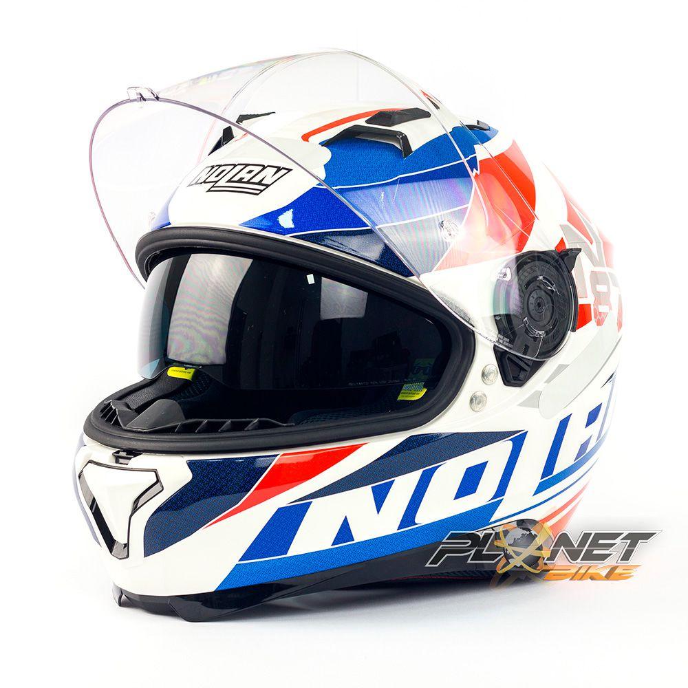 CAPACETE NOLAN N87 PLEIN AIR N-COM WHITE C/ Viseira Solar (Ganhe Pinlock + Touca Balaclava)  - Planet Bike Shop Moto Acessórios