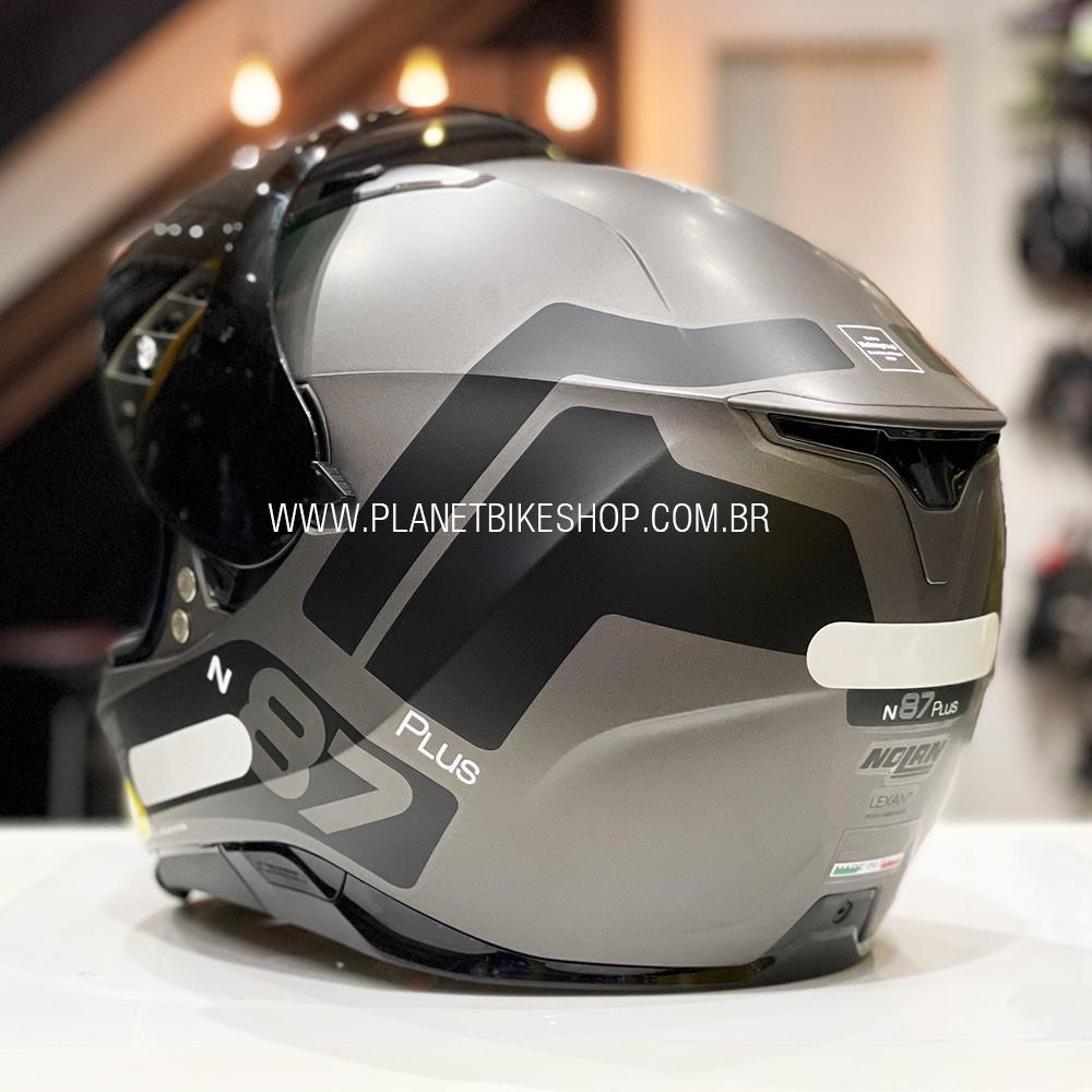Capacete Nolan N87 Plus Distinctive - Preto/Cinza Fosco (21) - C/ Viseira Solar (Ganhe Pinlock + Touca Balaclava)  - Planet Bike Shop Moto Acessórios