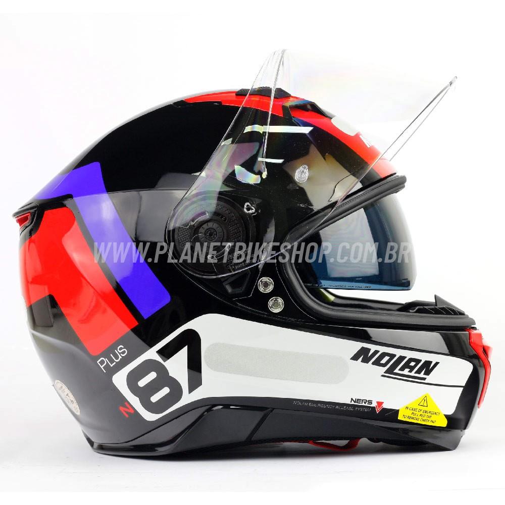 Capacete Nolan N87 Plus Distinctive - Tricolor - Preto/Azul/Vermelho - C/ Viseira Solar (Ganhe Pinlock + Touca Balaclava)  - Planet Bike Shop Moto Acessórios