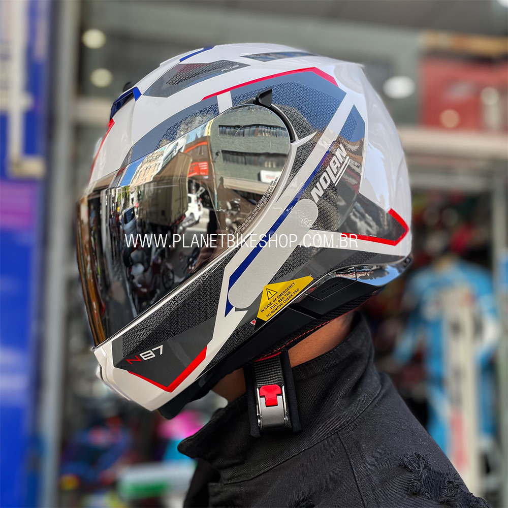 Capacete Nolan N87 Plus Overland - Branco/Vermelho/Azul (36) - C/ Viseira Solar (Ganhe Pinlock + Touca Balaclava)  - Planet Bike Shop Moto Acessórios