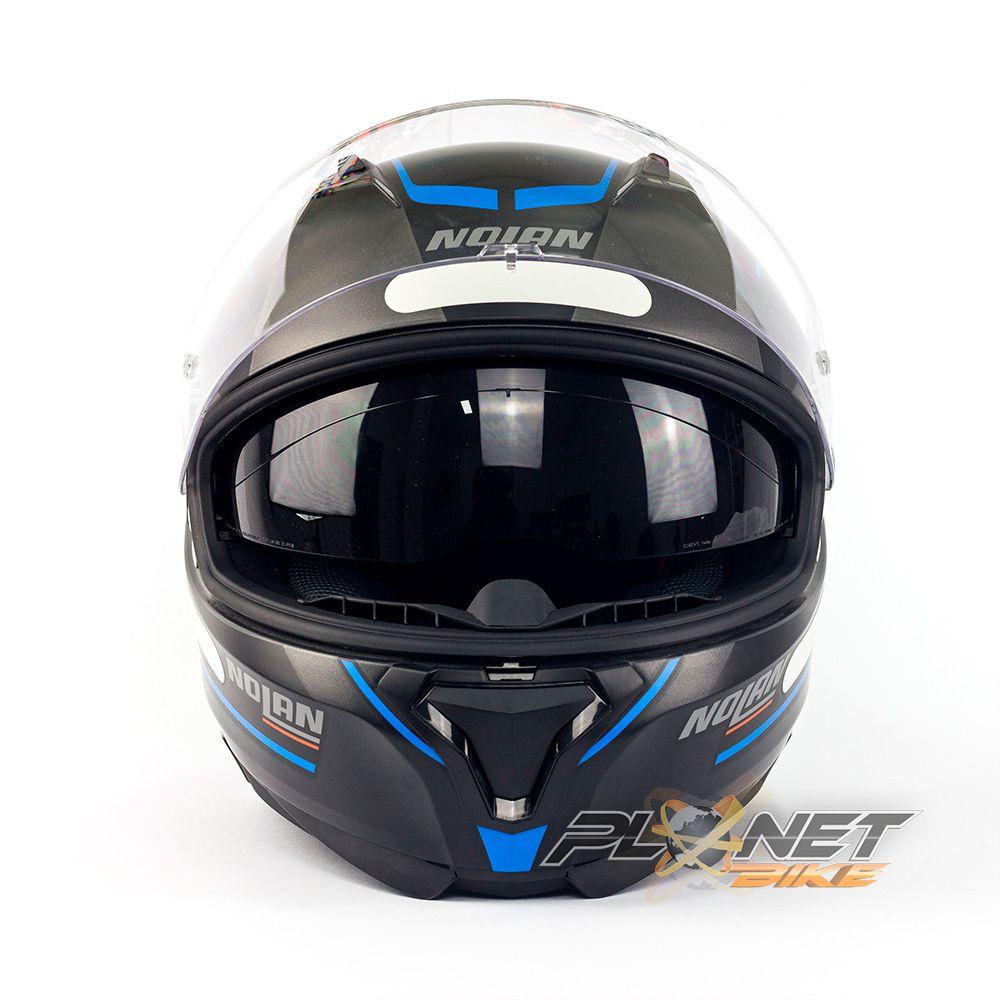 Capacete Nolan N87 Savoir Faire Preto/Azul C/ Viseira Solar (Ganhe Pinlock + Touca Balaclava)  - Planet Bike Shop Moto Acessórios