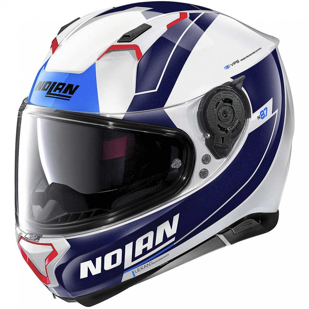 Capacete Nolan N87 Skilled - Branco/Azul (99) - C/ Viseira Solar (Ganhe Pinlock + Touca Balaclava)  - Planet Bike Shop Moto Acessórios