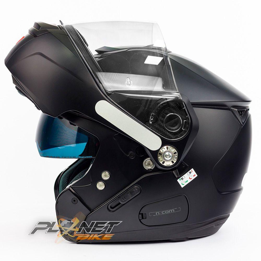 Capacete Nolan N90-2 Classic Preto Fosco (10) - Escamoteável C/ Viseira Solar Interna (GANHE BALACLAVA NOLAN)   - Planet Bike Shop Moto Acessórios