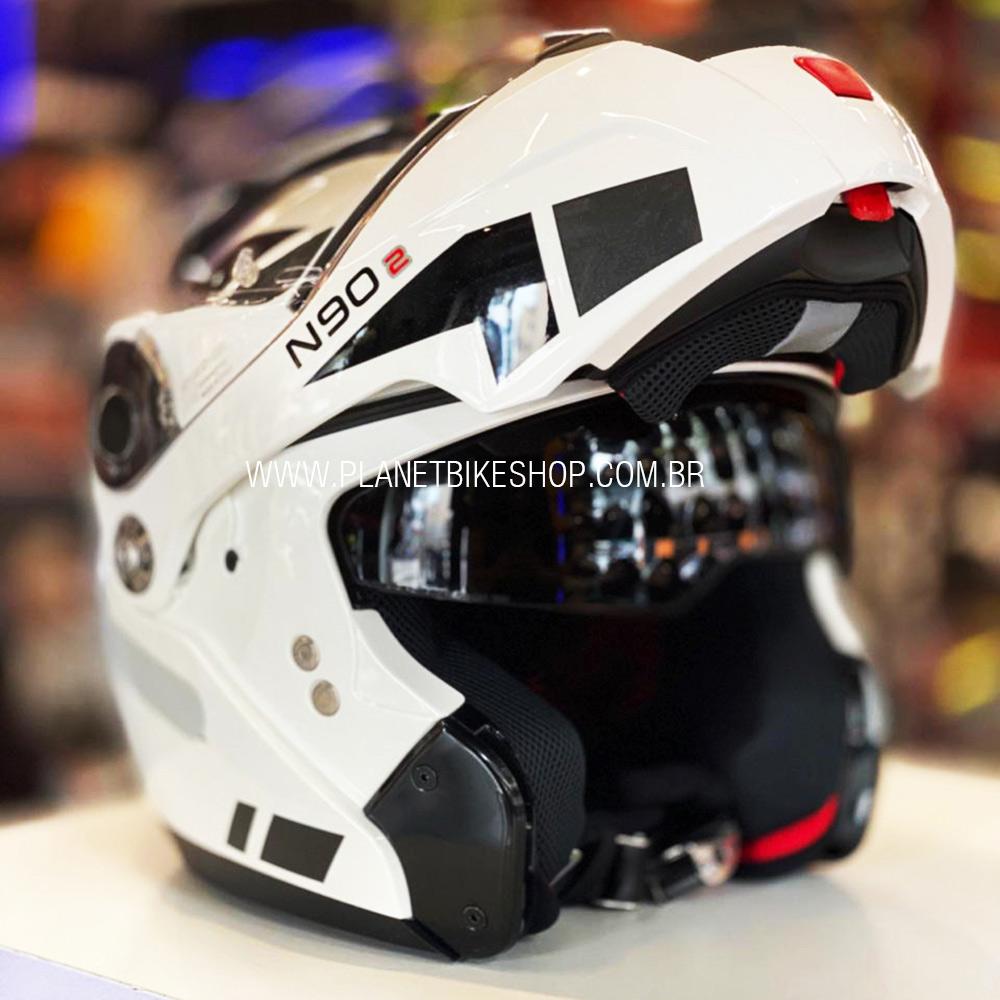 Capacete Nolan N90-2 Euclid Branco (28) - Escamoteável C/ Viseira Solar Interna - (GANHE BALACLAVA NOLAN)  - Planet Bike Shop Moto Acessórios