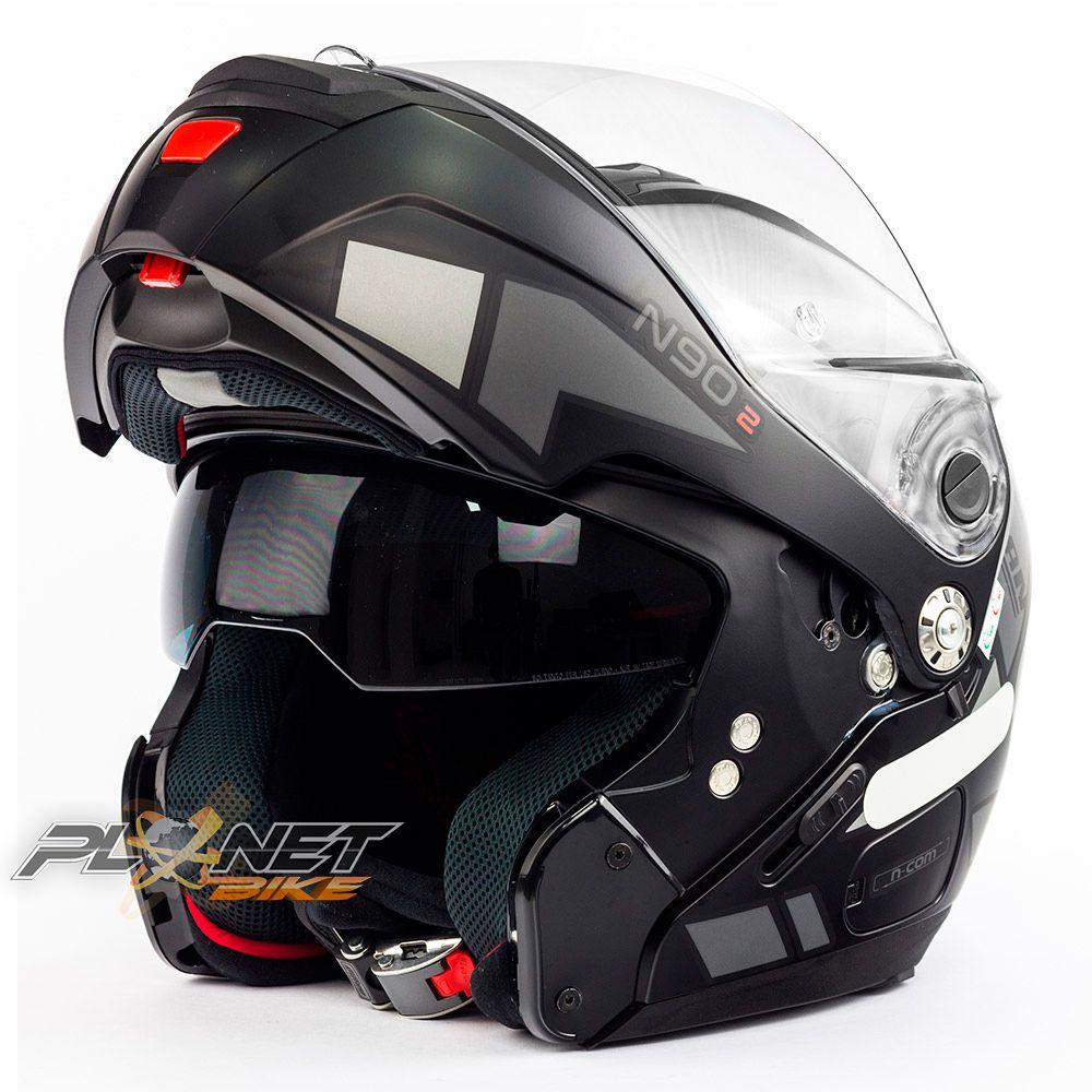 Capacete Nolan N90-2 Euclid Cinza Fosco (26) - Escamoteável C/ Viseira Solar Interna (GANHE BALACLAVA NOLAN)  - Planet Bike Shop Moto Acessórios