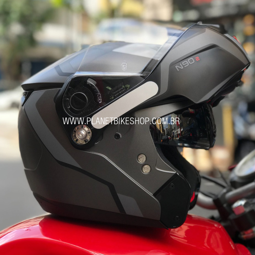Capacete Nolan N90-5 Meridianus - Preto/Cinza - Escamoteável C/ Viseira Solar Interna (GANHE BALACLAVA DE BRINDE)  - Planet Bike Shop Moto Acessórios