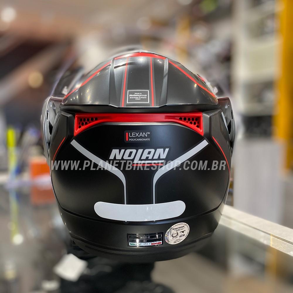 Capacete Nolan N90-5 Meridianus - Preto/Cinza/Vermelho - Escamoteável C/ Viseira Solar Interna (GANHE BALACLAVA DE BRINDE)  - Planet Bike Shop Moto Acessórios