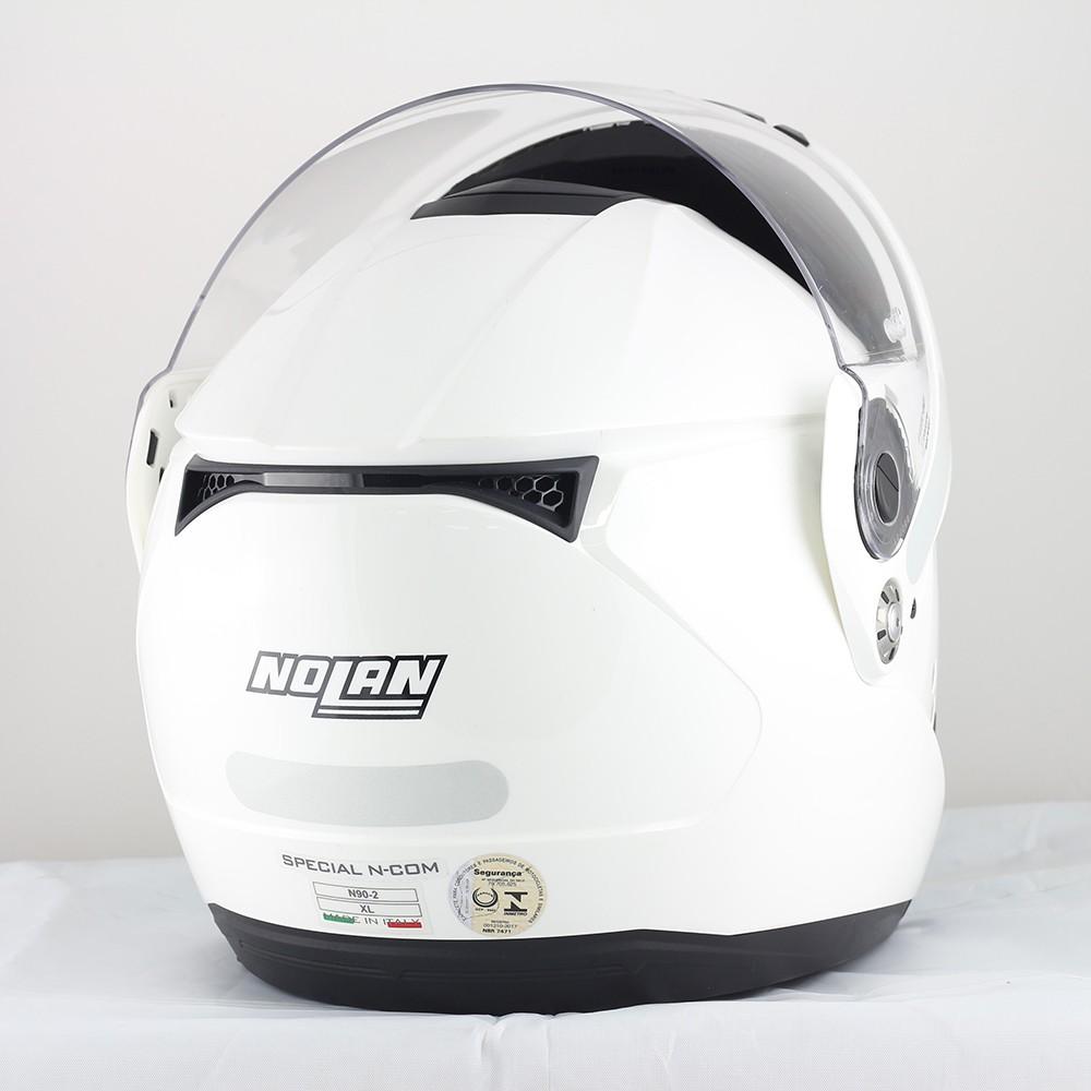 Capacete Nolan N90 Classic Branco Escamoteável Com Óculos Interno (Acompanha Pinlock)  - Planet Bike Shop Moto Acessórios