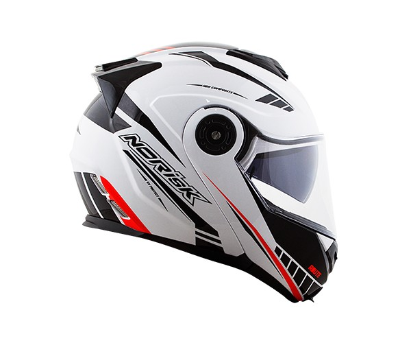 Capacete NoRisk FF345 Route Motion White/Black/Red (Articulado Com Viseira Solar Interna)  - Planet Bike Shop Moto Acessórios