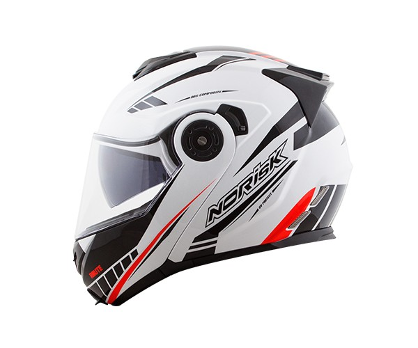 Capacete NoRisk FF345 Route Moution White/Black/Red (Articulado Com Viseira Solar Interna)  - Planet Bike Shop Moto Acessórios