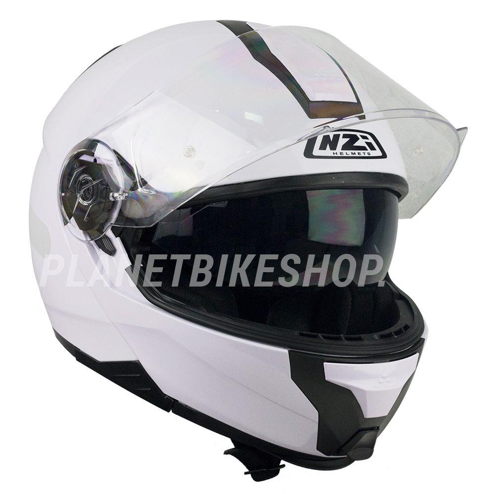 Capacete NZI Combi 2 Duo Branco - Escamoteável  - Planet Bike Shop Moto Acessórios