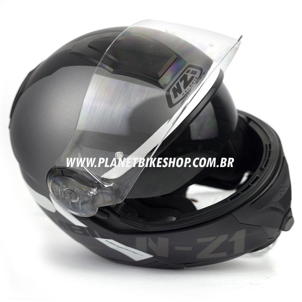 Capacete NZI Combi 2 Flydeck - Antracite - Escamoteável  - Planet Bike Shop Moto Acessórios