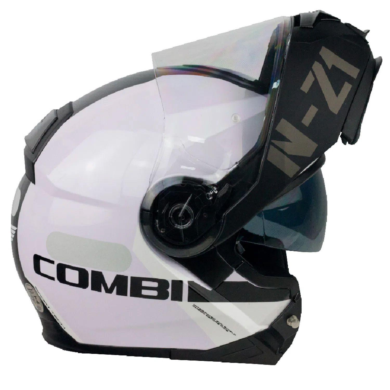 Capacete NZI Combi 2 Flydeck - Branco/Preto - Escamoteável  - Planet Bike Shop Moto Acessórios