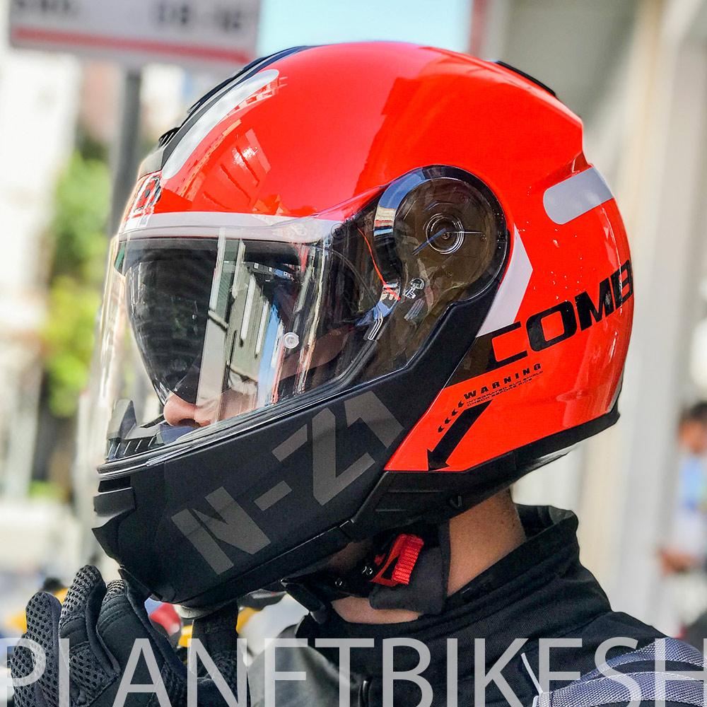 Capacete NZI Combi 2 Flydeck - Laranja - Escamoteável - LANÇAMENTO 2021  - Planet Bike Shop Moto Acessórios