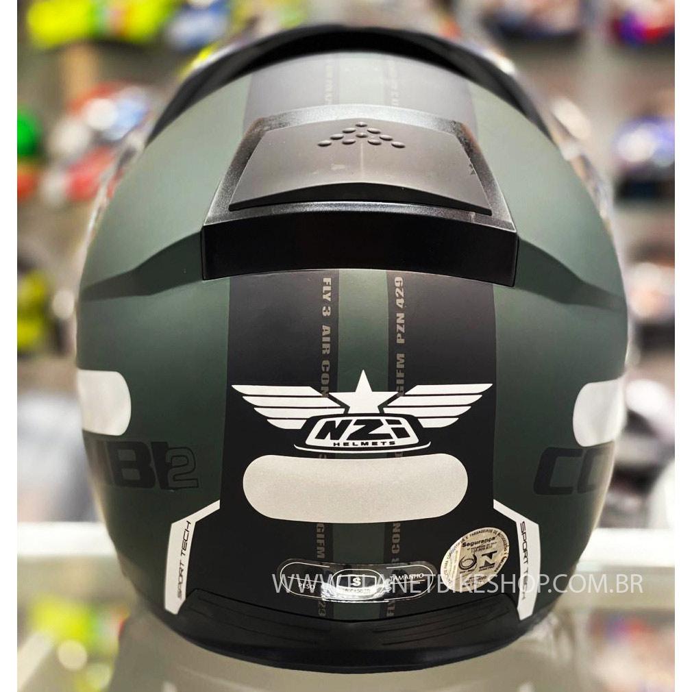 Capacete NZI Combi 2 Flydeck - Verde Fosco - Escamoteável  - Planet Bike Shop Moto Acessórios