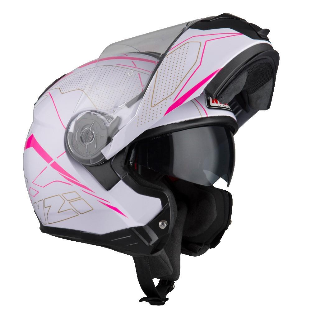 Capacete NZI Combi 2 Sword - Branco/Rosa - Escamoteável - LANÇAMENTO 2021  - Planet Bike Shop Moto Acessórios