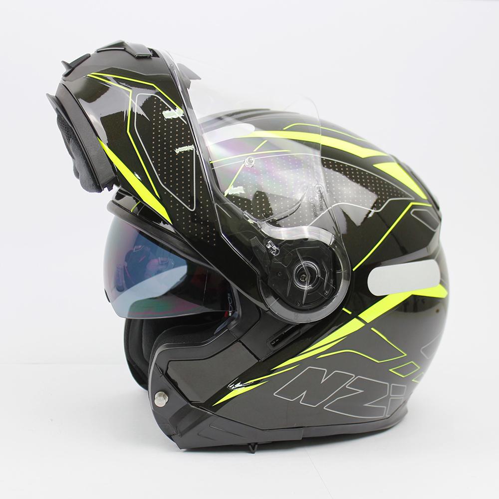 Capacete NZI Combi 2 Sword - Preto/Amarelo - Escamoteável  - Planet Bike Shop Moto Acessórios