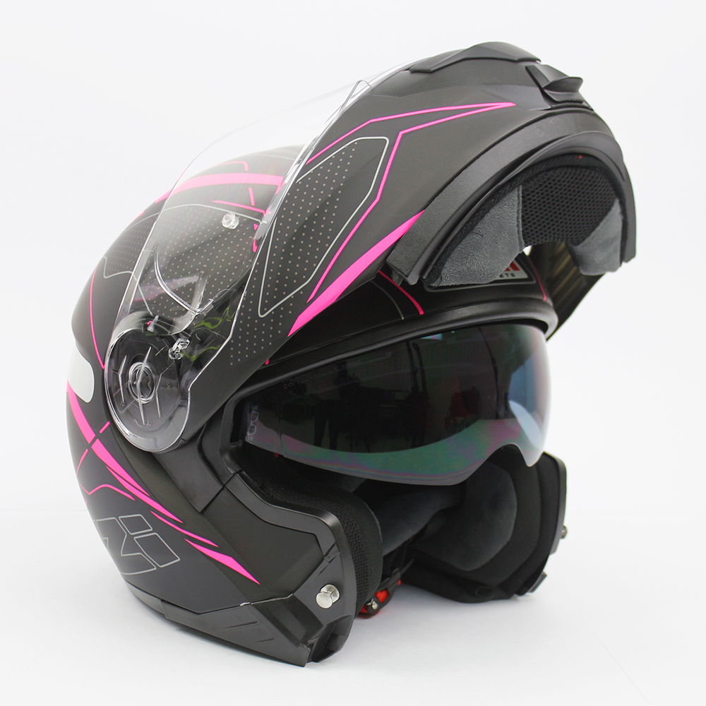 Capacete NZI Combi 2 Sword - Preto/Rosa - Escamoteável - LANÇAMENTO 2021  - Planet Bike Shop Moto Acessórios