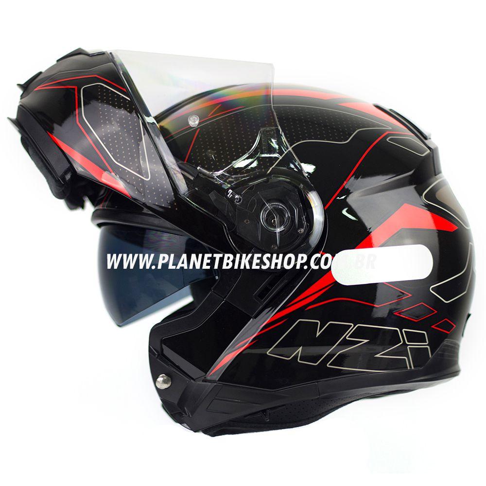 Capacete NZI Combi 2 Sword - Preto/Vermelho - Escamoteável  - Planet Bike Shop Moto Acessórios