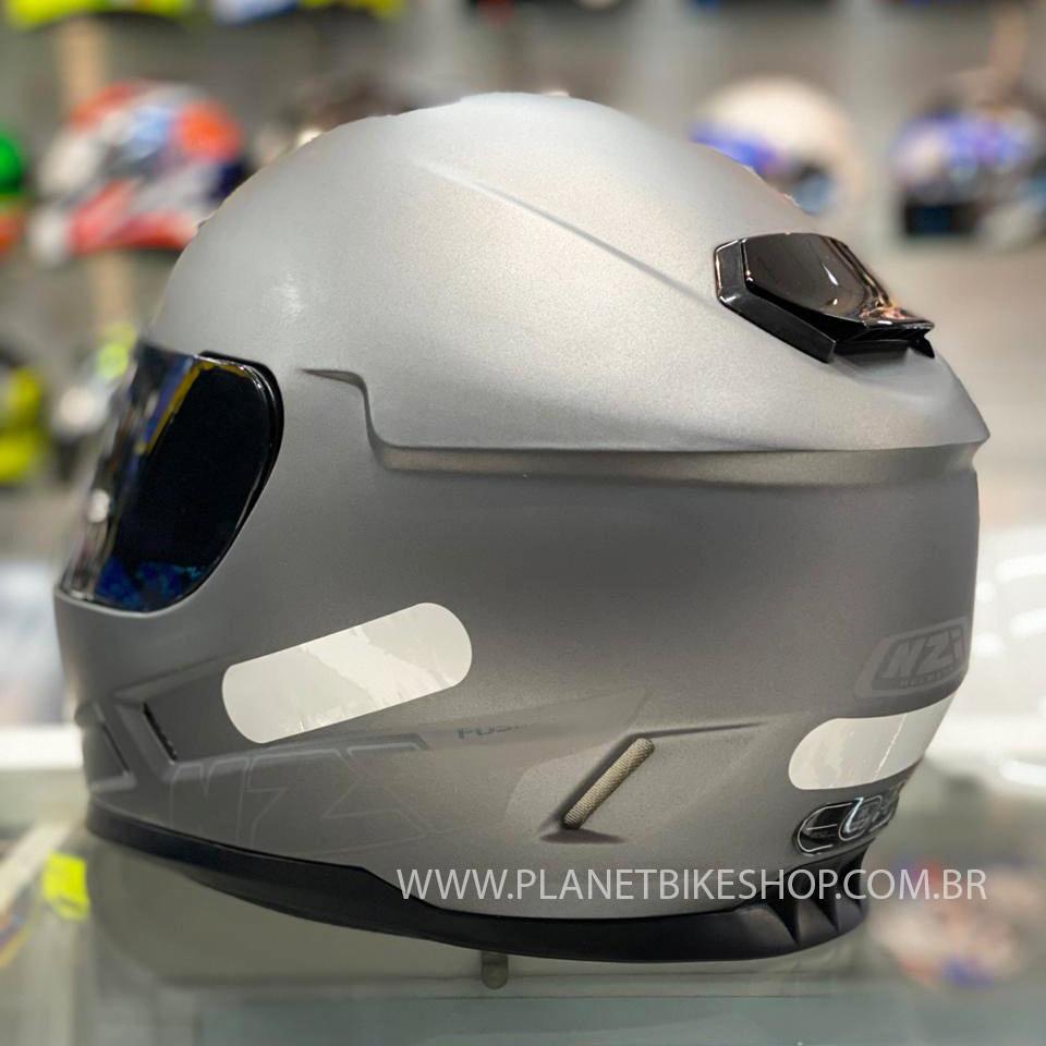 Capacete NZI Fusion Cinza Fosco - Ofertaço  - Planet Bike Shop Moto Acessórios