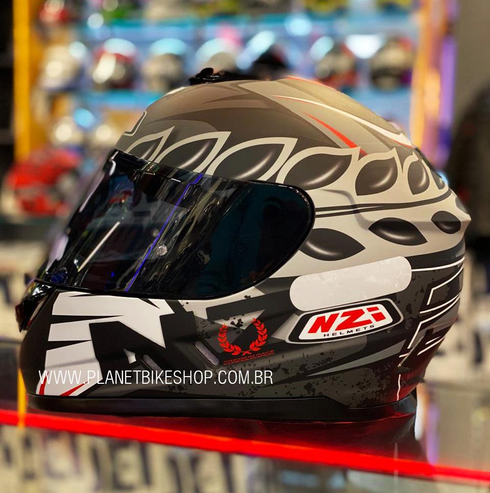 Capacete NZI Fusion Corona Cinza Fosco - Ofertaço  - Planet Bike Shop Moto Acessórios