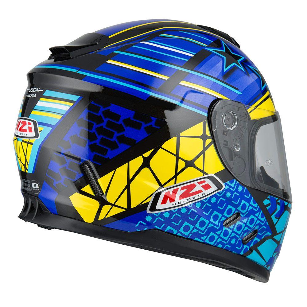 Capacete NZI Fusion Flechas - Preto/Amarelo/Azul  - Planet Bike Shop Moto Acessórios
