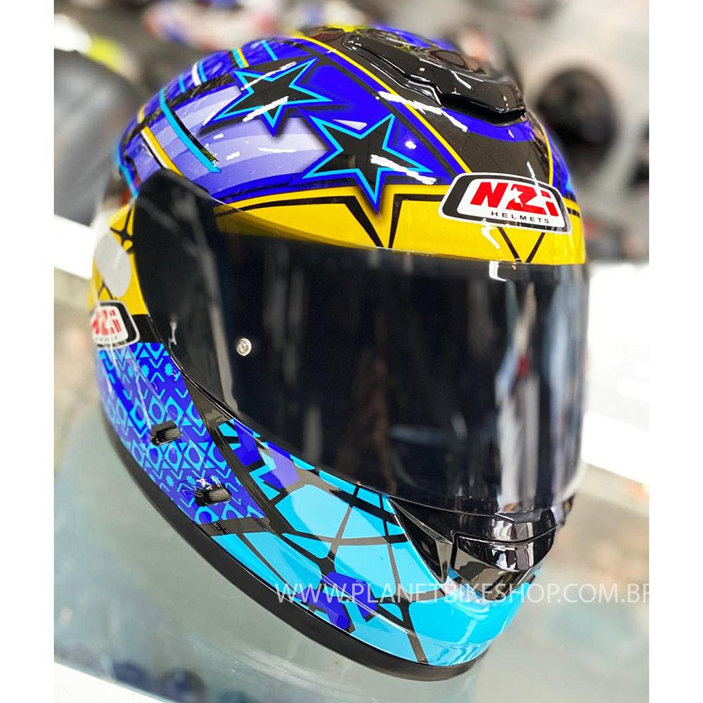 Capacete NZI Fusion Flechas Preto/Amarelo/Azul - Ofertaço  - Planet Bike Shop Moto Acessórios