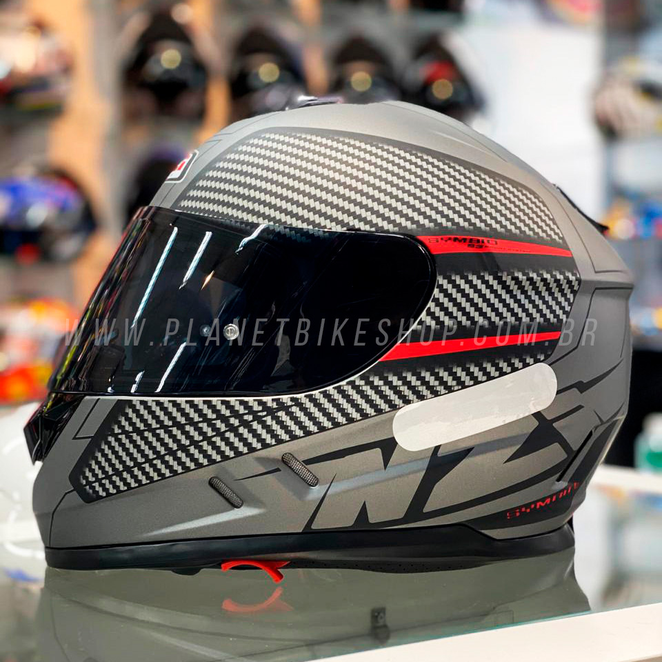 Capacete NZI Symbio 2 Fiber Volt Cinza/Vermelho Fosco - Ofertaço  - Planet Bike Shop Moto Acessórios