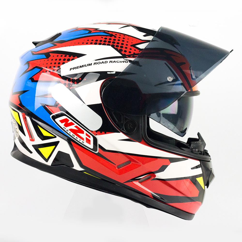 Capacete NZI Symbio 2 Flash Vermelho/Azul/Branco - Ofertaço  - Planet Bike Shop Moto Acessórios