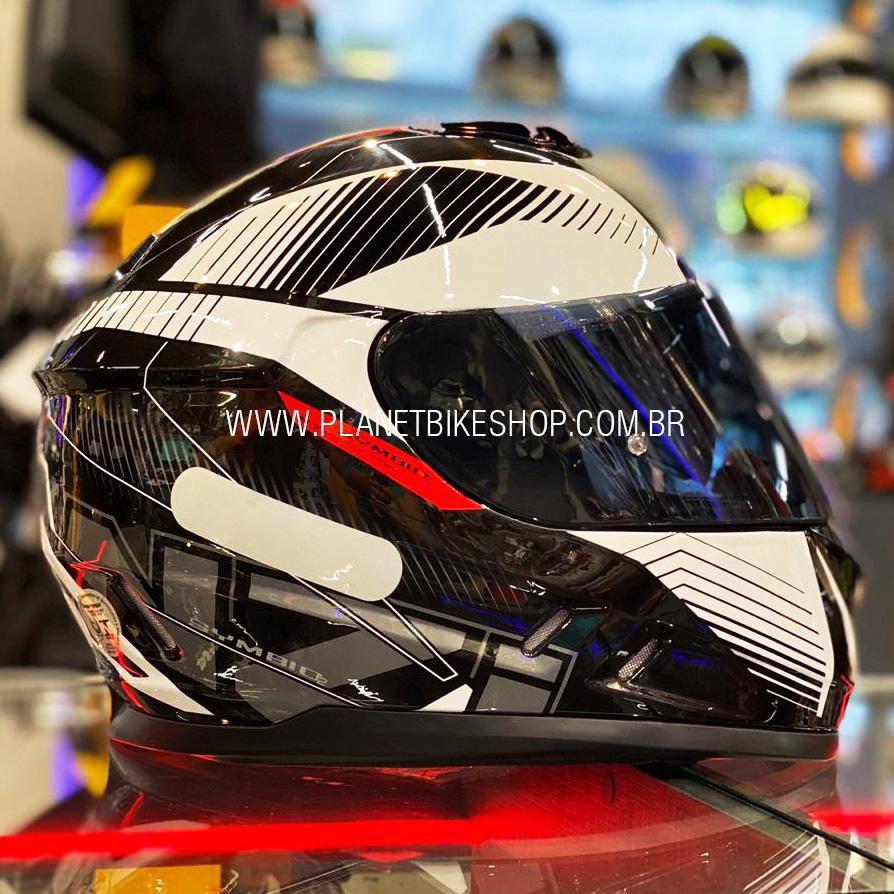 Capacete NZI Symbio 2 Indy Preto/Branco - Ofertaço  - Planet Bike Shop Moto Acessórios