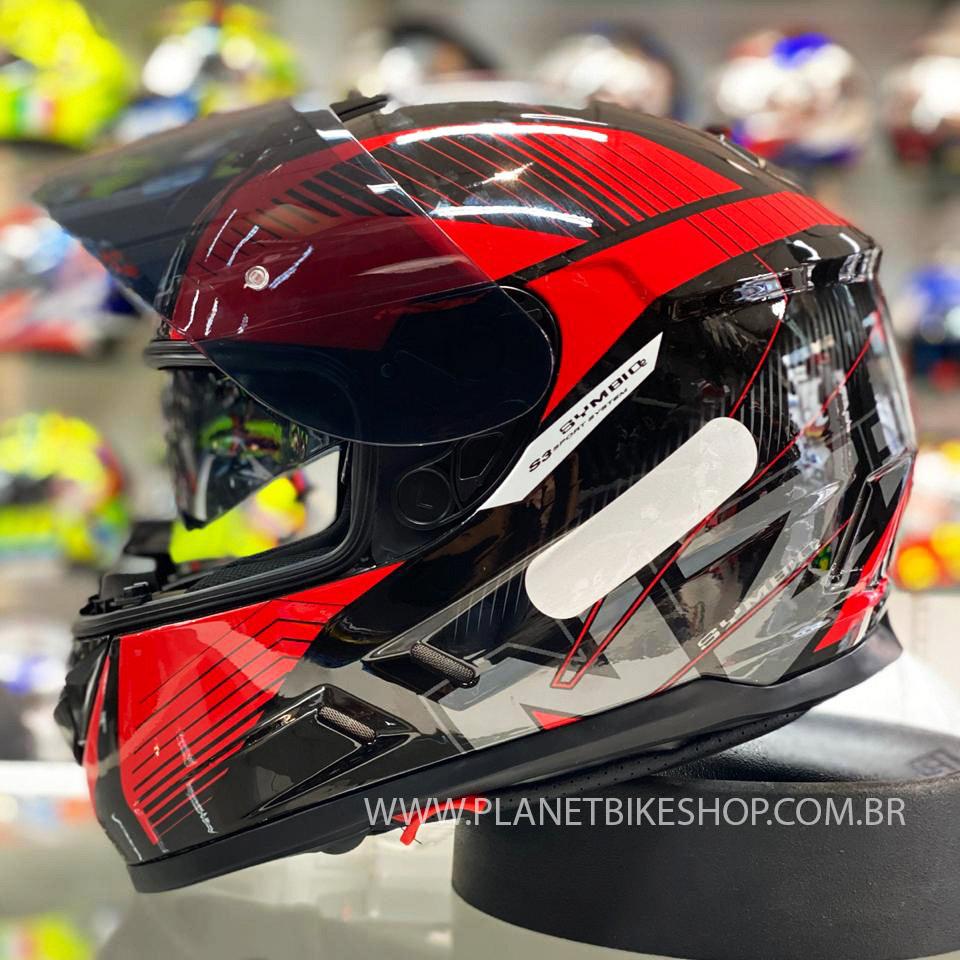 Capacete NZI Symbio 2 Indy Preto/Vermelho - Ofertaço  - Planet Bike Shop Moto Acessórios