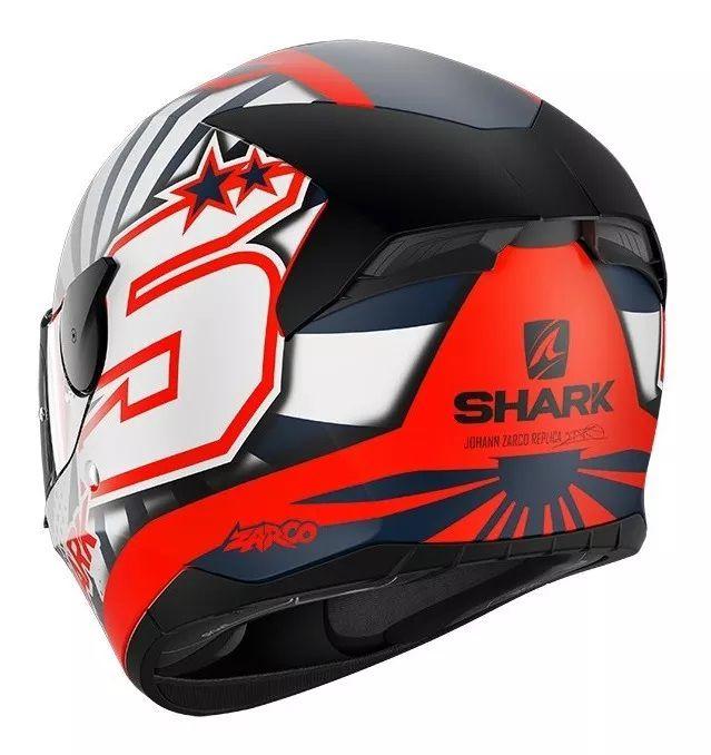 Capacete SHARK D-SKWAL 2 Réplica ZARCO 2019 - Laranja/Branco/Preto - Fosco  - Planet Bike Shop Moto Acessórios