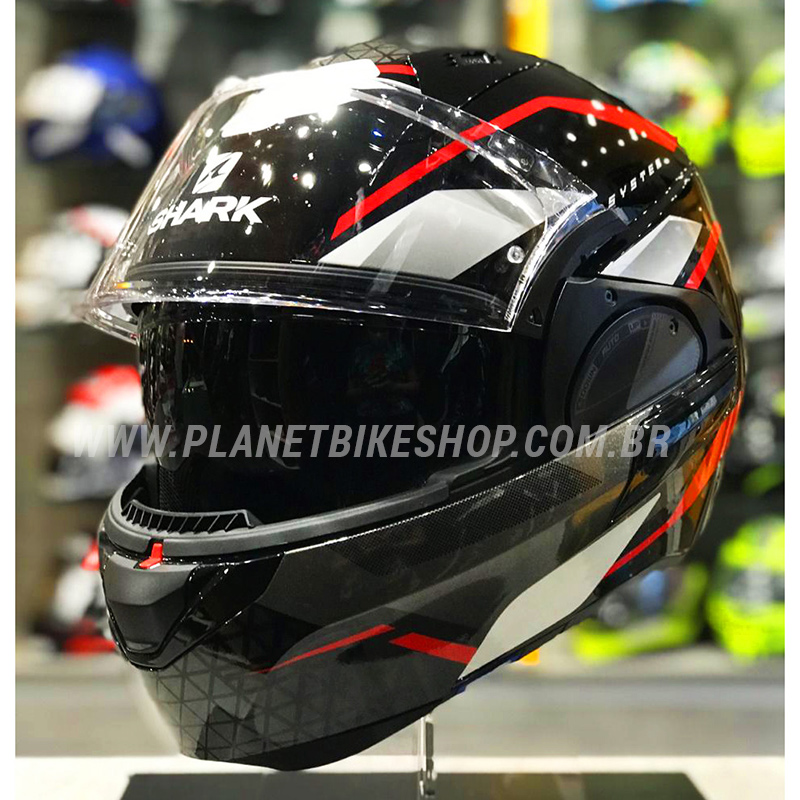 Capacete Shark Evo One ES Yari KRW Preto/VM Escamoteável  - Planet Bike Shop Moto Acessórios