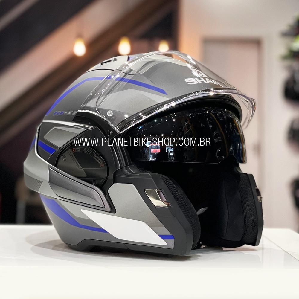 Capacete Shark Evo One ES Yari matt ABS Cinza/Azul Escamoteável  - Planet Bike Shop Moto Acessórios