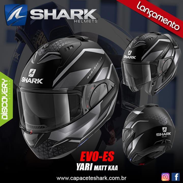 Capacete Shark Evo One ES Yari matt KAA Preto/Cinza Escamoteável  - Planet Bike Shop Moto Acessórios