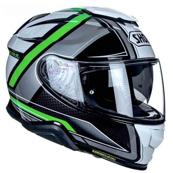 Capacete Shoei GT-Air II Haste TC-4 Cinza/Verde C/ Viseira Solar - Lançamento 2021  - Planet Bike Shop Moto Acessórios