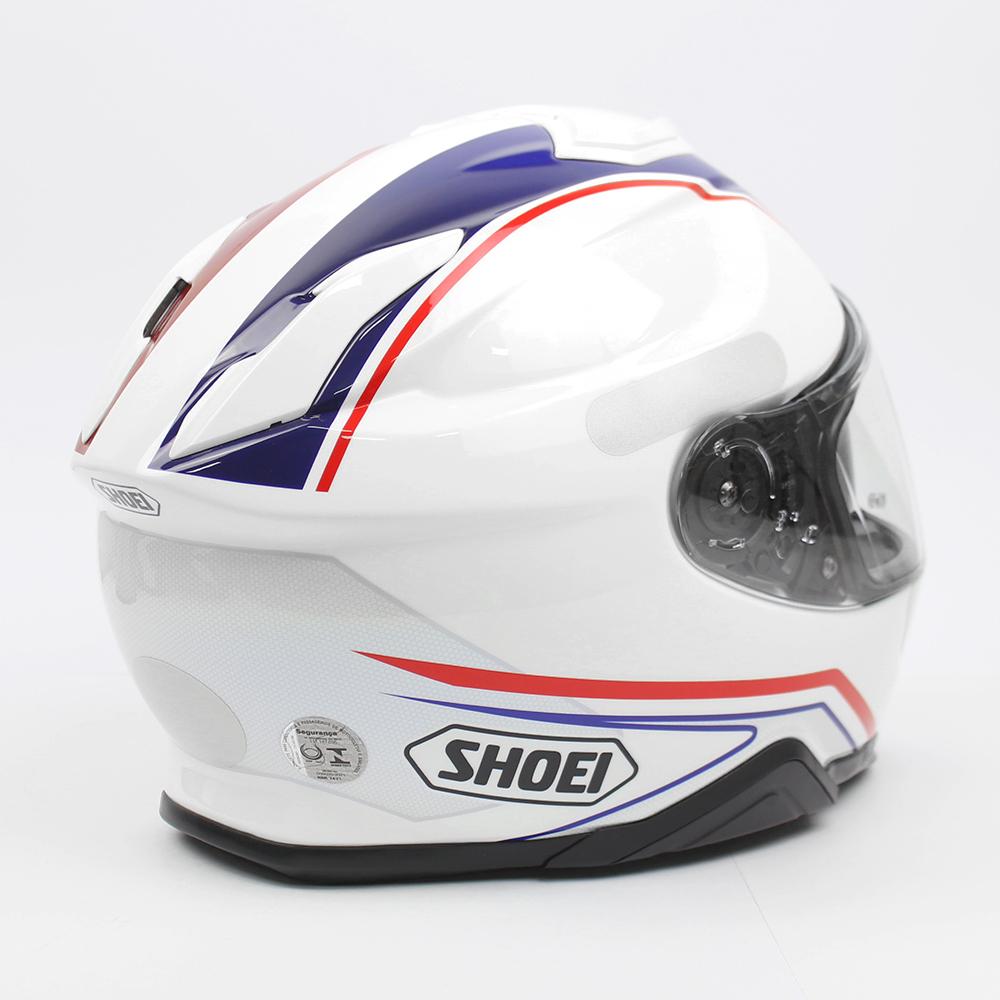 Capacete Shoei GT Air II Panorama TC-10 - Branco/Azul/Vermelho - C/ Viseira Solar - Lançamento 2020  - Planet Bike Shop Moto Acessórios