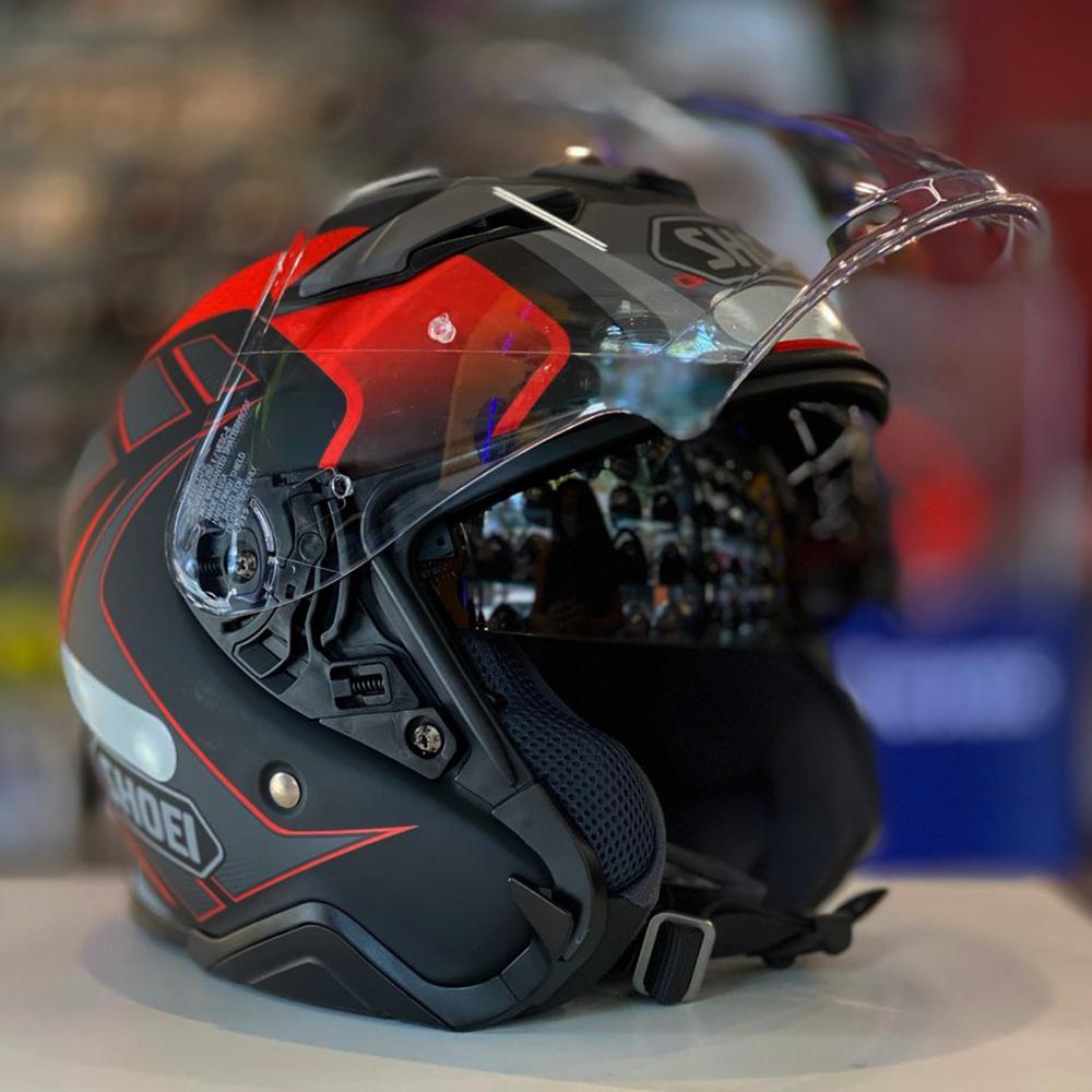 CAPACETE SHOEI J-CRUISE II AGLERO TC-1 VERMELHO ABERTO - C/ VISEIRA SOLAR  - Planet Bike Shop Moto Acessórios