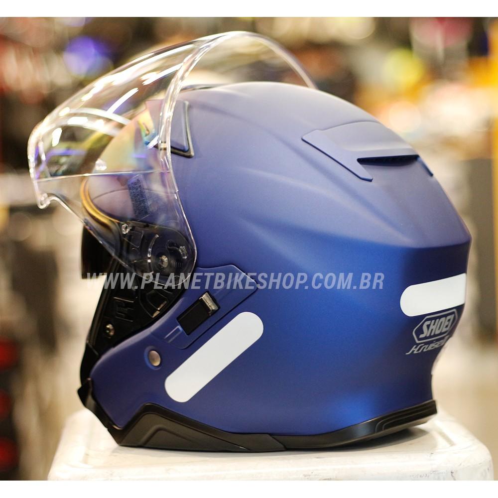 CAPACETE SHOEI J-CRUISE II AZUL MATT ABERTO - C/ VISEIRA SOLAR  - Planet Bike Shop Moto Acessórios