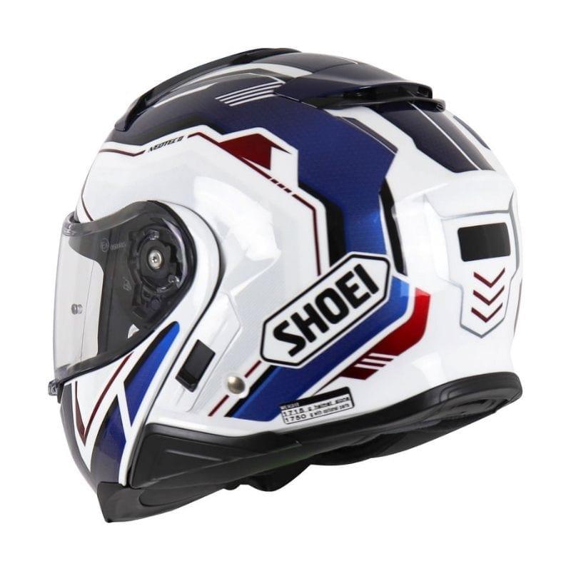 Capacete Shoei Neotec 2 Respect TC-10 Branco/Azul Escamoteável/Articulado - LANÇAMENTO 2021  - Planet Bike Shop Moto Acessórios