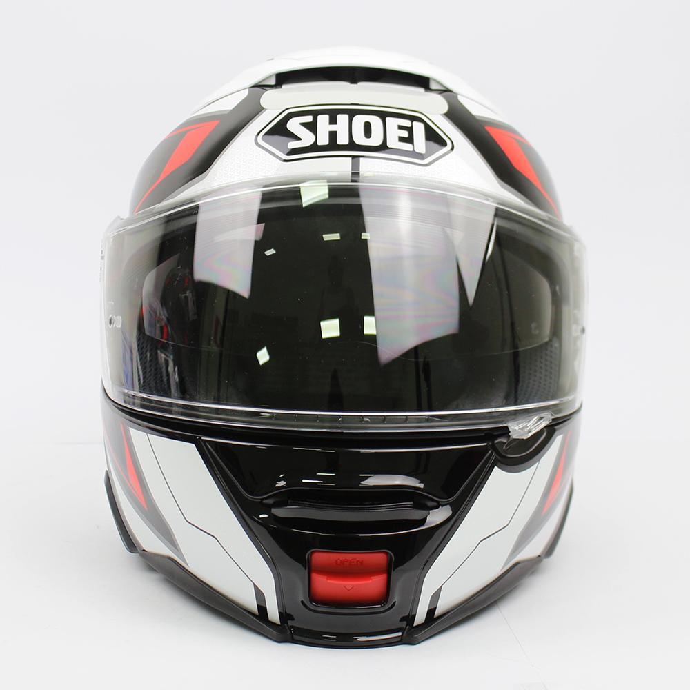 Capacete Shoei Neotec 2 Respect TC-1 Branco/Vermelho/Preto Escamoteável/Articulado - LANÇAMENTO 2021  - Planet Bike Shop Moto Acessórios