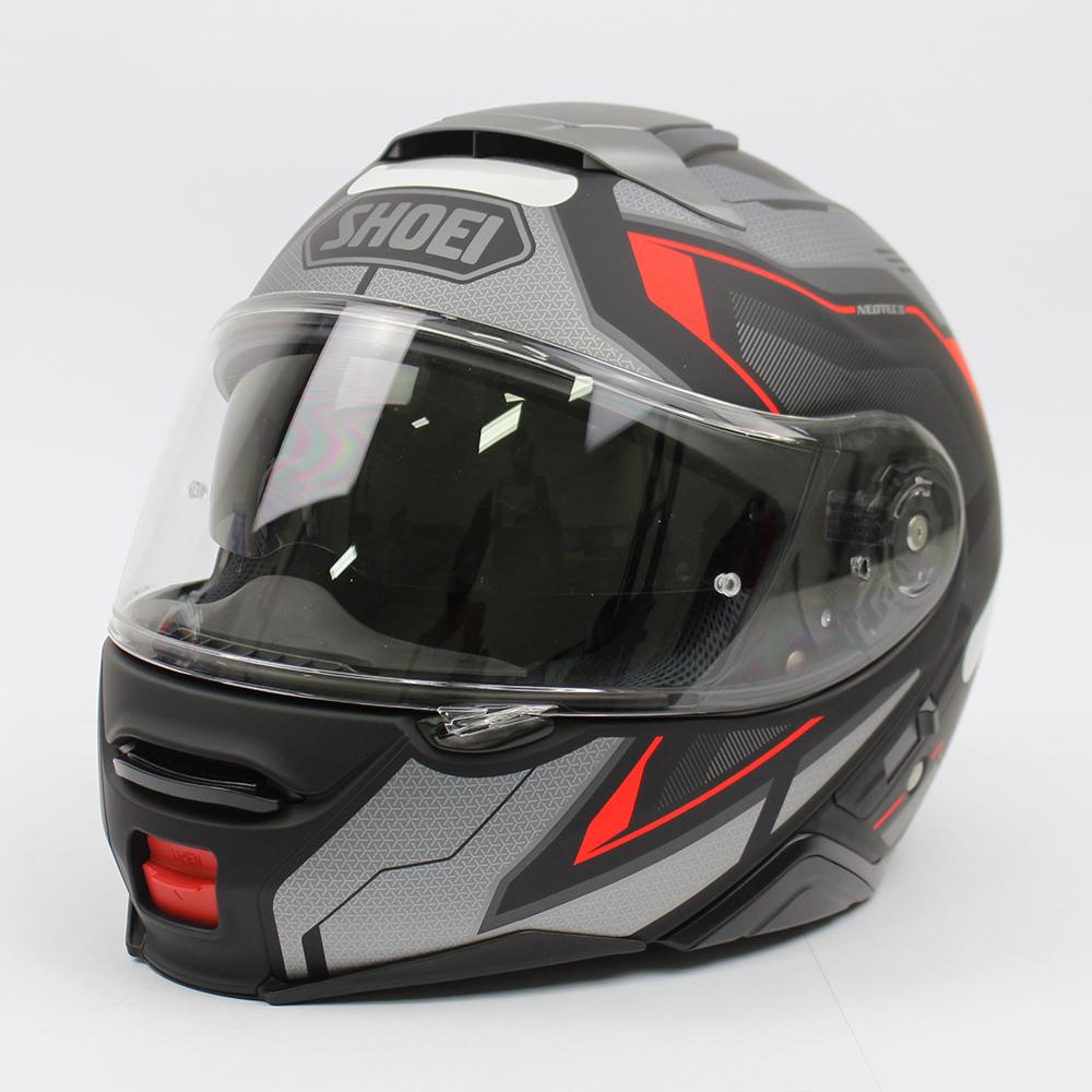 Capacete Shoei Neotec 2 Respect TC-5 Preto/Cinza/Vermelho Escamoteável/Articulado - LANÇAMENTO 2021  - Planet Bike Shop Moto Acessórios