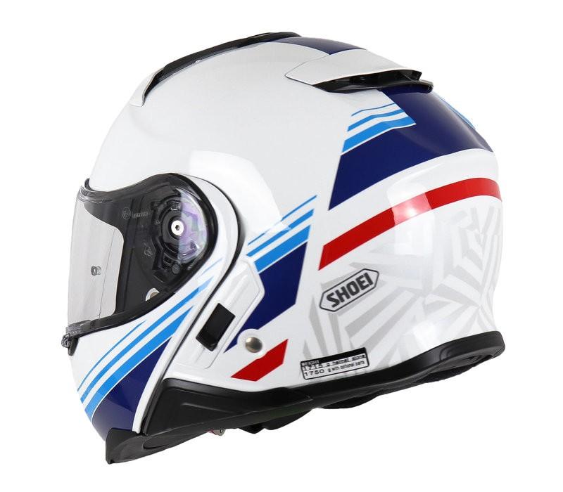 Capacete Shoei Neotec 2 Separator TC-10 Branco/Azul Escamoteável/Articulado  - Planet Bike Shop Moto Acessórios