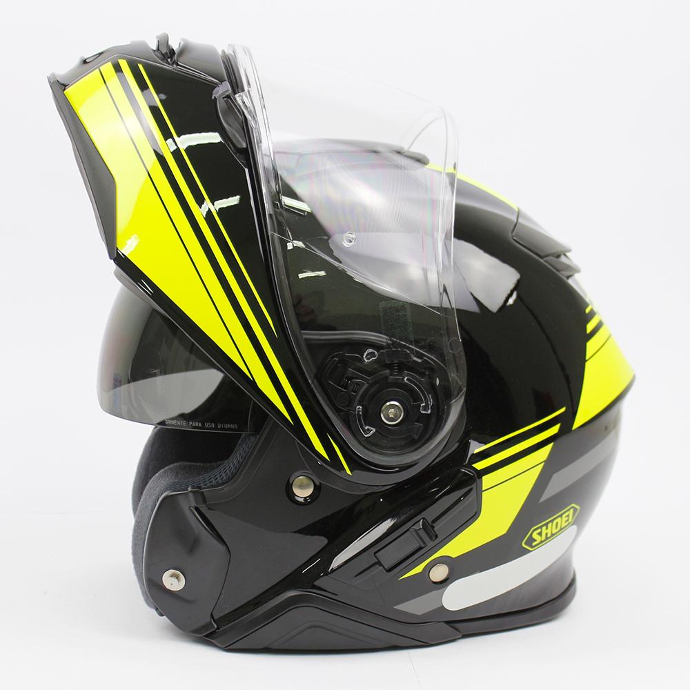 Capacete Shoei Neotec 2 Separator TC-3 - Preto/Amarelo Escamoteável  - Planet Bike Shop Moto Acessórios