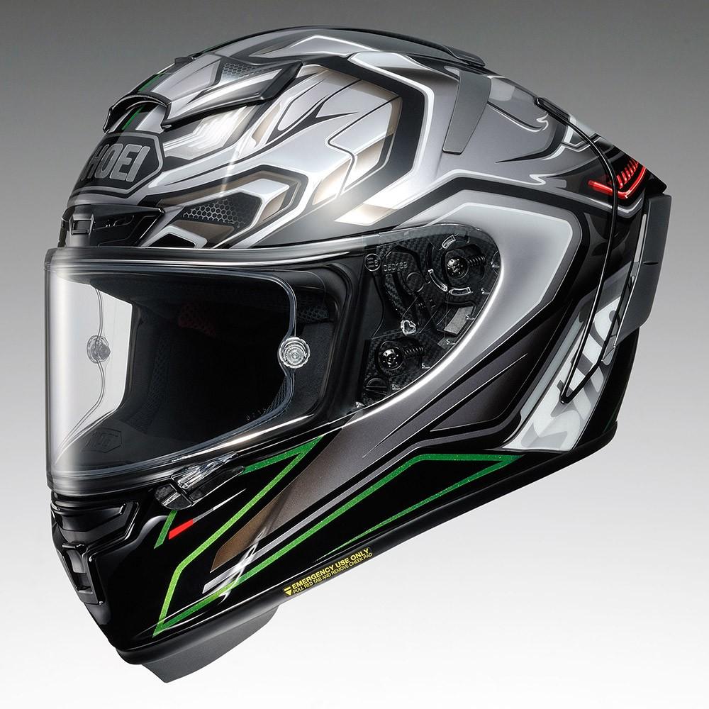 Capacete Shoei X-Spirit III Aerodyne TC-4 - Cinza/Verde (X-FOURTEEN)   - Planet Bike Shop Moto Acessórios