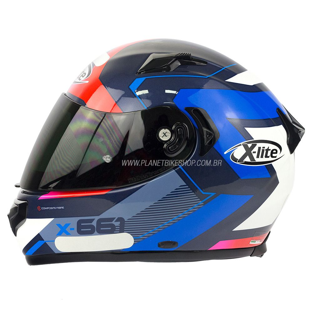 Capacete X-lite X-661 Motivator Azul Tri-Composto - Brinde Pinlock Anti-Embaçante - Blackfriday  - Planet Bike Shop Moto Acessórios