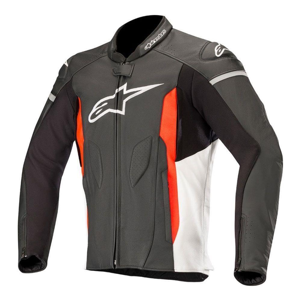 Jaqueta Alpinestars Faster (Preto/ Branco/Vermelho/Fluor) em Couro   - Planet Bike Shop Moto Acessórios