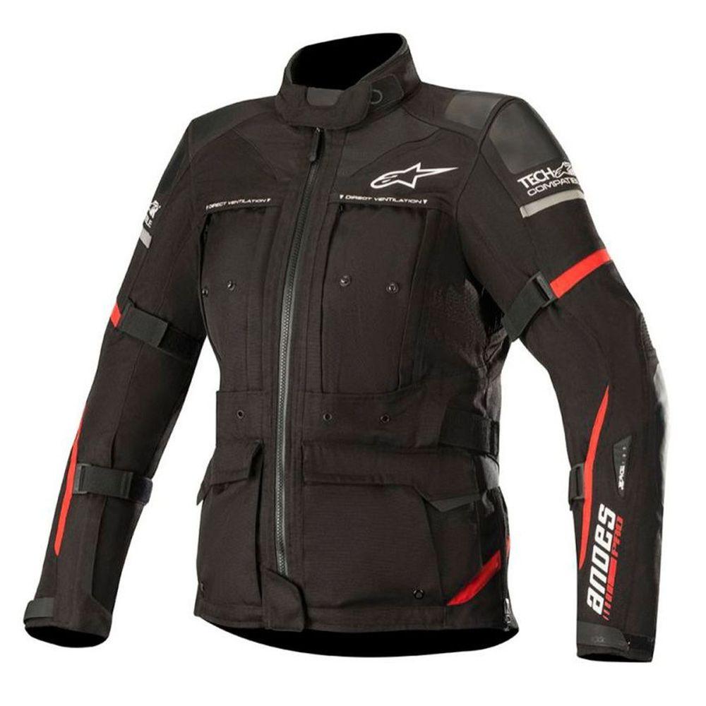 jaqueta Alpinestars Stella Andes Pro DRYSTAR®  AIR TECH COMPATIBLE - PRETO/VERMELHO - IMPERMEÁVEL  - Planet Bike Shop Moto Acessórios