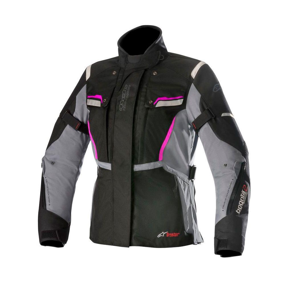 Jaqueta Alpinestars Stella Bogotá V2 Drystar® WP  Feminina - Preta/Cinza/Fuchsia  - Planet Bike Shop Moto Acessórios