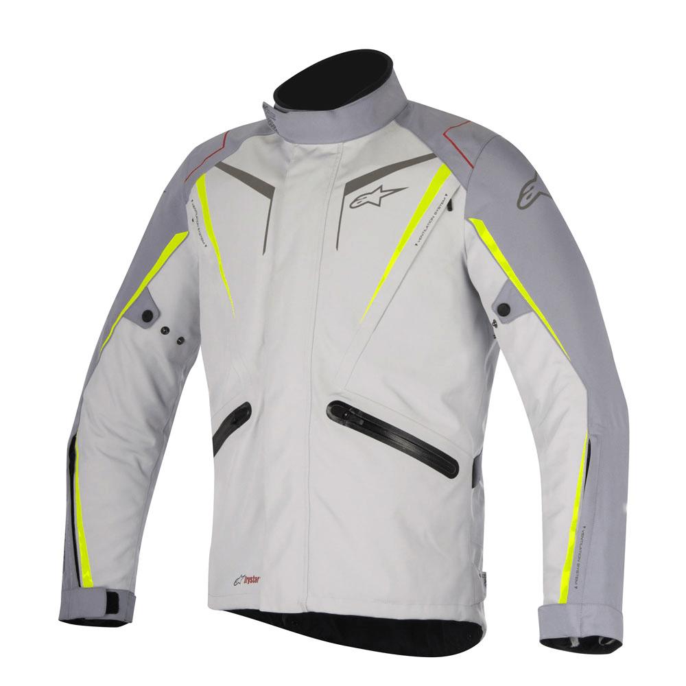 Jaqueta Alpinestars Yokohama Drystar Branco/Amarelo - 100% Impermeável  - Planet Bike Shop Moto Acessórios